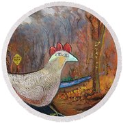 Woods Road 2 - Autumn Round Beach Towel