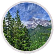 Woods Surrounding Mt. Rainier Round Beach Towel