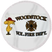 Woodstock Fire Dept Round Beach Towel