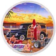 Woody Beach Round Beach Towel