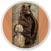 Woof And The Girl Round Beach Towel