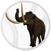 Woolly Mammoth Profile Round Beach Towel