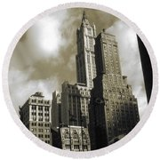 Old New York Photo - Historic Woolworth Building Round Beach Towel