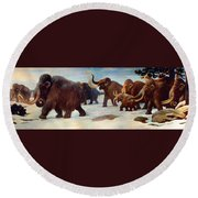 Wooly Mammoths Near The Somme River Round Beach Towel