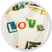 Word Of Love Round Beach Towel