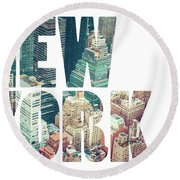 Word Usa Manhattan Skyline At Sunset, New York City  Round Beach Towel
