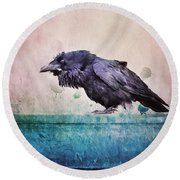 Words Of A Raven Round Beach Towel