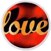 Words Of Love And Retro Romance Round Beach Towel