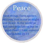 Words Of Peace Round Beach Towel