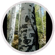 Words Written In The Trees 1 Round Beach Towel