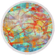 Work 00099 Abstraction In Cyan, Blue, Orange, Red Round Beach Towel by Alex Hall