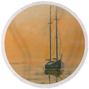 Work Boat At Rest Round Beach Towel