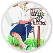 Work For Justice - Mmwfj Round Beach Towel