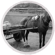 Work Horse And Cart Round Beach Towel