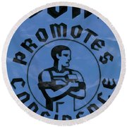 Work Promotes Confidence Blue Round Beach Towel