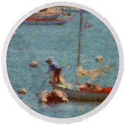 Work These Sails Honey Boothbay Harbor Maine Round Beach Towel