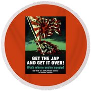 Work Where You're Needed -- Ww2 Round Beach Towel