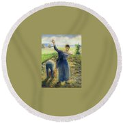 Workers In The Fields 1896-97 Camille Pissarro Round Beach Towel