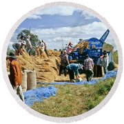 Workers Loading Rice Round Beach Towel