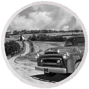 Down On The Farm- International Harvester In Black And White Round Beach Towel