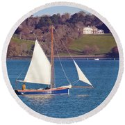 Working Boat At Trelissick Cornwall Round Beach Towel