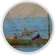Working Hard Lobster Boat Smugglers Cove Boothbay Harbor Maine Round Beach Towel