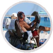 Working Hard Round Beach Towel
