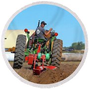 Working His Plow Two  Round Beach Towel