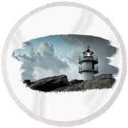Working Lighthouse Isolated On White Round Beach Towel