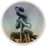 Working Man Round Beach Towel