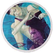 Working On A Dream - Loose Pearls Round Beach Towel by Dorina  Costras