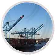 Working The Port Of New Orleans Round Beach Towel