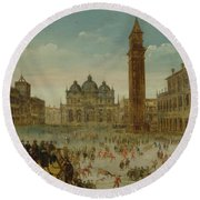 Workshop Of Caullery, Louis De Caulery Circa 1580 - 1621 Antwerp Carnival In Venice. Round Beach Towel