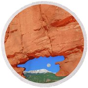 World-famous Pikes Peak Framed By What We Call The Keyhole  Round Beach Towel