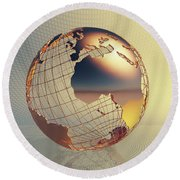 World Global Business Background Round Beach Towel
