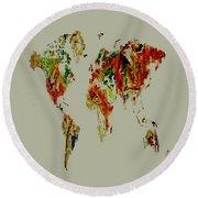 World Map 02a Round Beach Towel