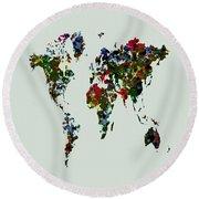World Map 12b Round Beach Towel