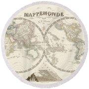 World Map - 1842 Round Beach Towel