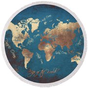 World Map 2065 Round Beach Towel