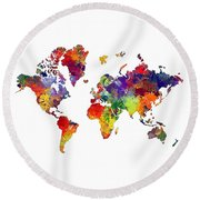 World Map 8 Watercolor Print  Round Beach Towel