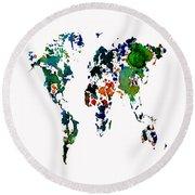 World Map 8b Round Beach Towel