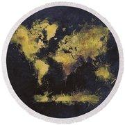 World Map Art 65 Round Beach Towel