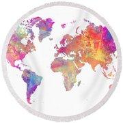 World Map Art Round Beach Towel