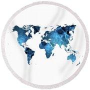 World Map Blue Round Beach Towel