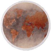 World Map Brown Round Beach Towel