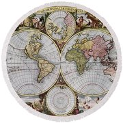 World Map, C1690 Round Beach Towel
