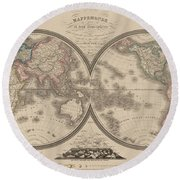 World Map Divided Into Two Hemispheres Round Beach Towel