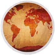World Map Grunge Style Round Beach Towel