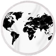 World Map In Black And White Round Beach Towel