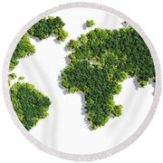 World Map Made Of Green Trees Round Beach Towel